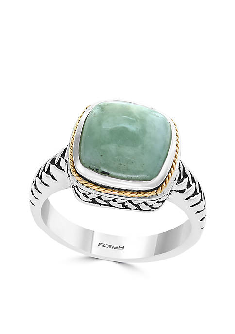 Sterling Silver Jade Ring In 18K Yellow Gold