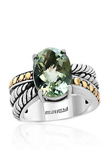Green Amethyst Ring in Sterling Silver and 18K Yellow Gold