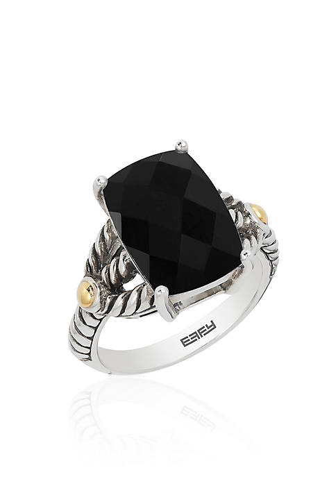 Effy® Onyx Ring in Sterling Silver and 18k