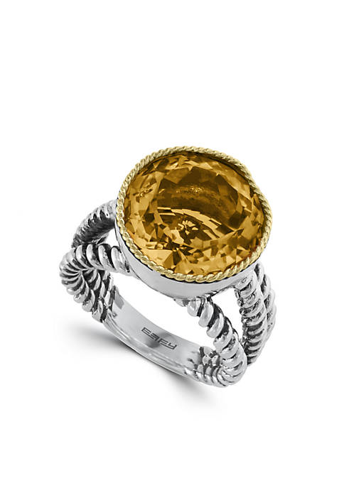 Effy® Sterling Silver 18k Yellow Gold Citrine Ring