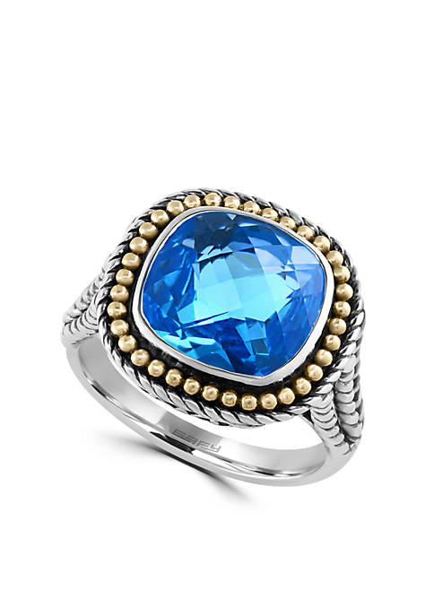 Effy® Sterling Silver 18k Yellow Gold Blue Topaz