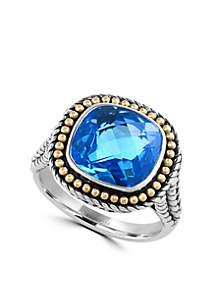 Effy® Sterling Silver 18k Yellow Gold Blue Topaz Ring
