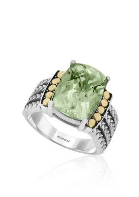 Effy Women Green Amethyst Ring In Sterling Silver And 18K Yellow Gold - Green Amethyst - 7
