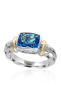 Blue Topaz Ring in Sterling Silver and 18k Yellow Gold