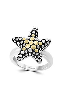Star Ring in Sterling Silver and 18k Yellow Gold