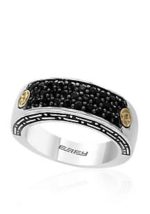 Effy® Men's Sterling Silver and 18k Yellow Gold Black Sapphire Ring