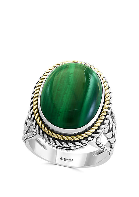 Malachite Ring in Sterling Silver and 18k Yellow Gold