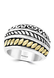 Sterling Silver and 18k Yellow Gold Ring
