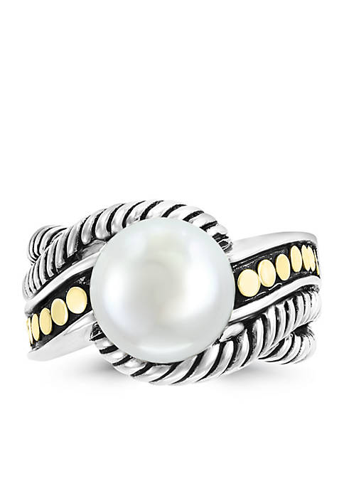 Freshwater Pearl Ring in 18k Yellow Gold and Sterling Silver