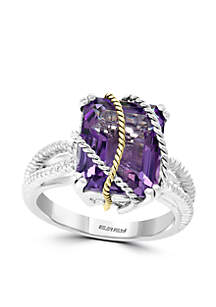 5.50 ct. t.w. Amethyst Ring in Sterling Silver and 18k Yellow Gold