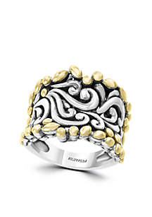 Band Ring in Sterling Silver and 18k Yellow Gold