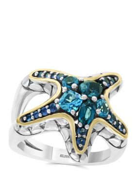 Effy Women Blue Topaz, London Blue, Sapphire Ring In Sterling Silver And 18K Yellow Gold - Silver/Gold - 7