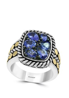 Effy Women 1.85 Ct. T.W. Tanzanite Ring In 925 Sterling Silver/18K Yellow Gold - Silver/Gold - 7