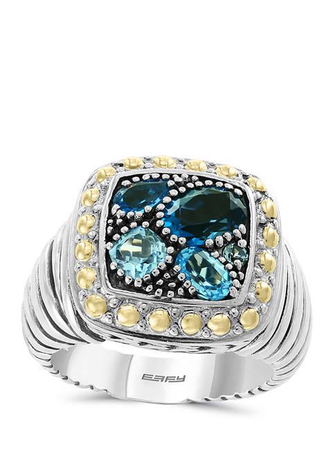 Blue Topaz, London Blue Topaz, Sky Blue Topaz Ring in Sterling Silver/18k Yellow Gold