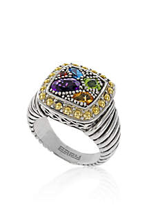 Multi Colored Ring in Sterling Silver and 18K Yellow Gold