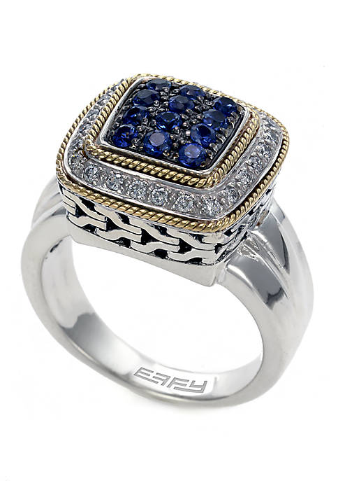 Sterling Silver and 18K Yellow Gold 5/8 ct t.w. Sapphire and Diamond Ring