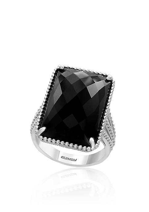 Effy® Emerald Cut Onyx Ring in Sterling Silver