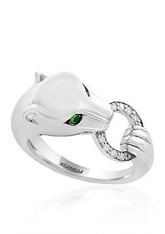 Effy® 0.07 ct. t.w. Diamond Tsavorite Signature Panther Ring in Sterling Silver