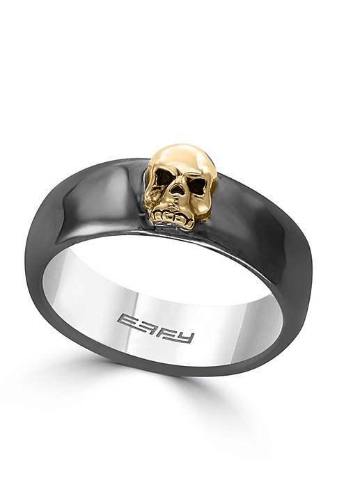 Effy® Mens Black Rhodium Skull Ring
