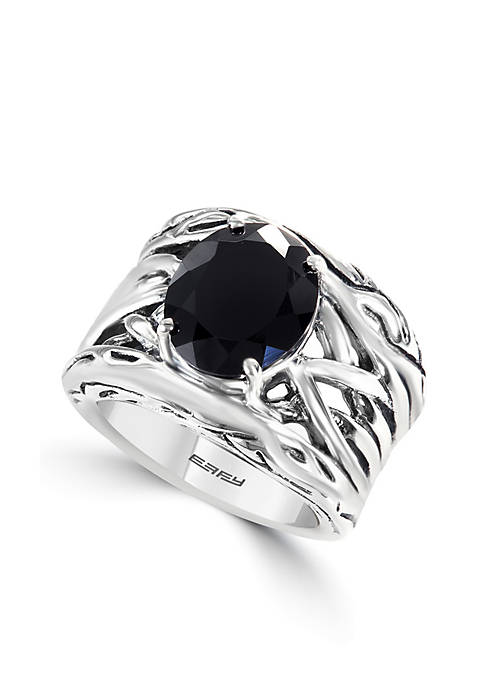 Effy® Sterling Silver Onyx Weave Band