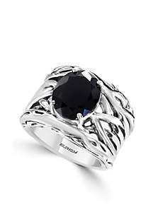 Sterling Silver Onyx Weave Band