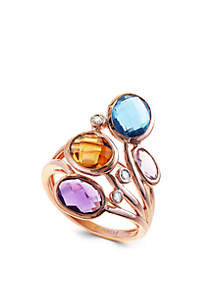 14k Rose Gold Diamond, Amethyst, Blue Topaz And Citrine Ring