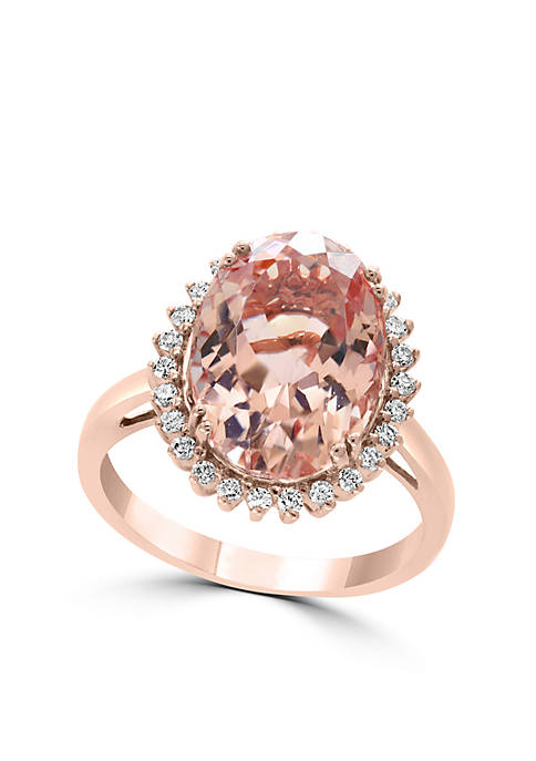 Effy® 14K Rose Gold Morganite and Diamond Ring