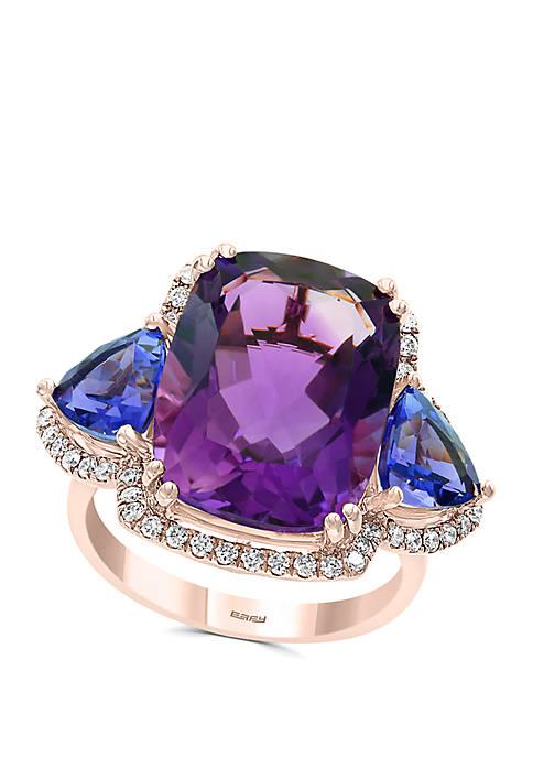 Effy® 3/8 ct. t.w. Diamond, Amethyst, Tanzanite Ring