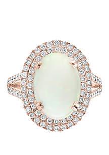 Effy® 3.9 ct. t.w. Opal and 0.95 ct. t.w. Diamond Ring in 14k Rose Gold
