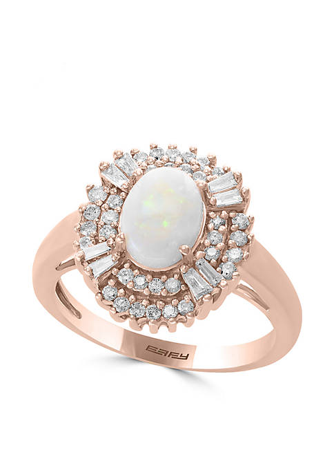 14K Rose Gold Opal Round and Baguette Diamonds Ring