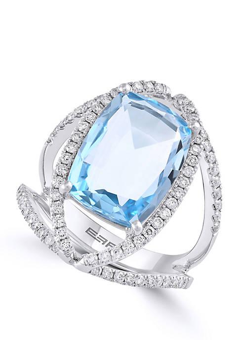 Effy® Blue Topaz with Diamond Ring in 14k