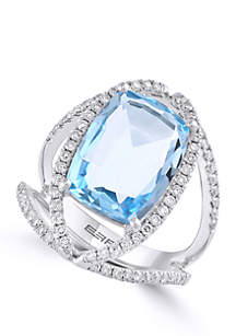 Blue Topaz with Diamond Ring in 14k White Gold