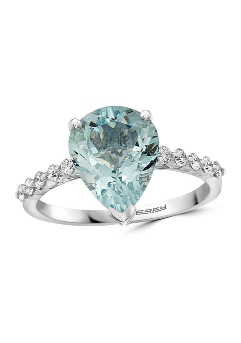 1/5 ct. t.w. Diamonds and 2.6 ct. t.w. Aquamarine Ring in 14k White Gold