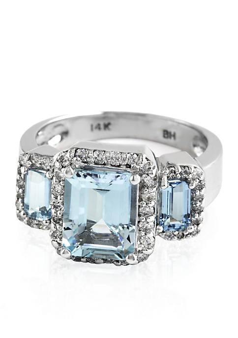 Three Stone Aquamarine and Diamond Ring in 14k White Gold