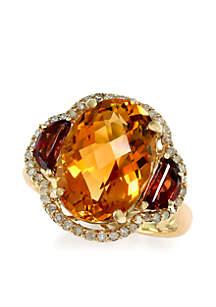 14k Yellow Gold, Diamond, Citrine And Garnet Ring