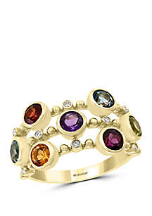 Effy® 0.06 ct. t.w. Diamond, Amethyst, Blue Topaz, London Blue Topaz, Citrine, Garnet, Rhodolite, Peridot Ring in 14k Yellow Gold