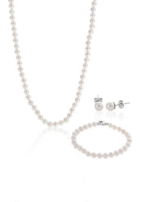 Effy® Sterling Silver Freshwater Pearl Necklace, Earrings and