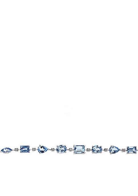 Effy® 14k White Gold Diamond And Aquamarine Bracelet