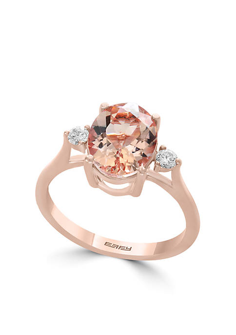 Effy® 14K Rose Gold Diamond Morganite Ring