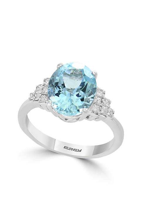 Effy® 1/3 ct. t.w. Diamond Aquamarine Ring in