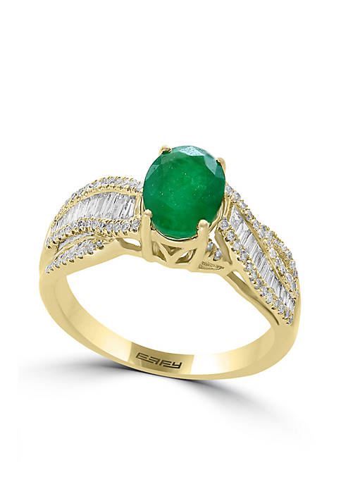 Effy® 4k Yellow Gold Emerald and Diamond Ring