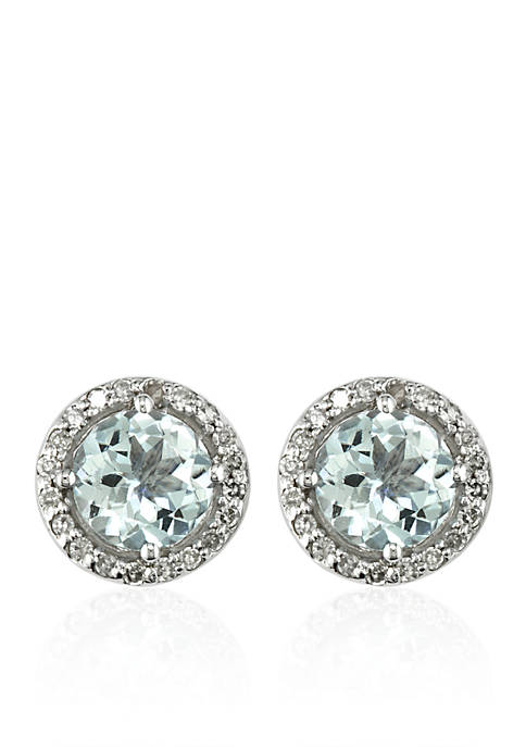 Aquamarine & Diamond Stud Earrings in 14K  White Gold