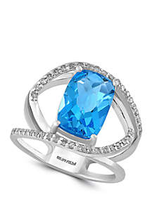 4.3 ct. t.w. Blue Topaz and 1/5 ct. t.w. Diamond Ring in 14K White Gold