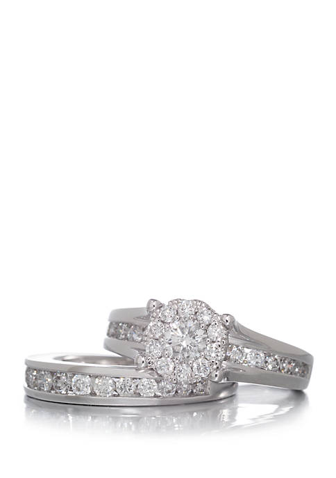1.48 ct. t.w. Diamond Engagement and Wedding Band Set in 14K White Gold