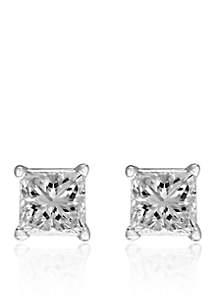 1/2 ct. t.w. Princess Cut Diamond Studs in 14K White Gold