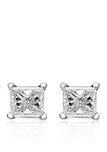 1/4 ct. t.w. Princess Cut Diamond Stud Earrings in 14K White Gold