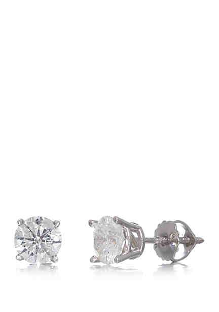 T W Classic Diamond Stud Earrings In 14k White Gold