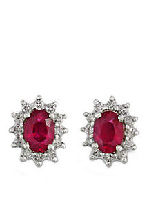 14k Yellow Gold Diamond Natural Mozambique Ruby Earrings