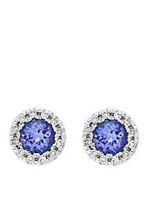 1/8 ct. t.w. Diamond Tanzanite Earrings in 14k White Gold