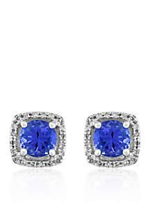 Tranzanite & Diamond Earrings in 14K White Gold